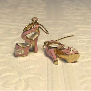 New pink platform heel earrings gold trim